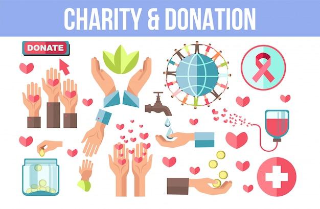 Liefdadigheid en donatie thema geïsoleerde minimalistische iconen set Premium Vector