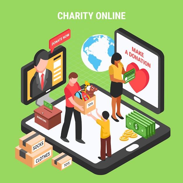 Liefdadigheid online isometrische samenstelling met vrijwilligers die donatieactiviteit uitvoeren voor kinderen en behoeftige mensen Gratis Vector
