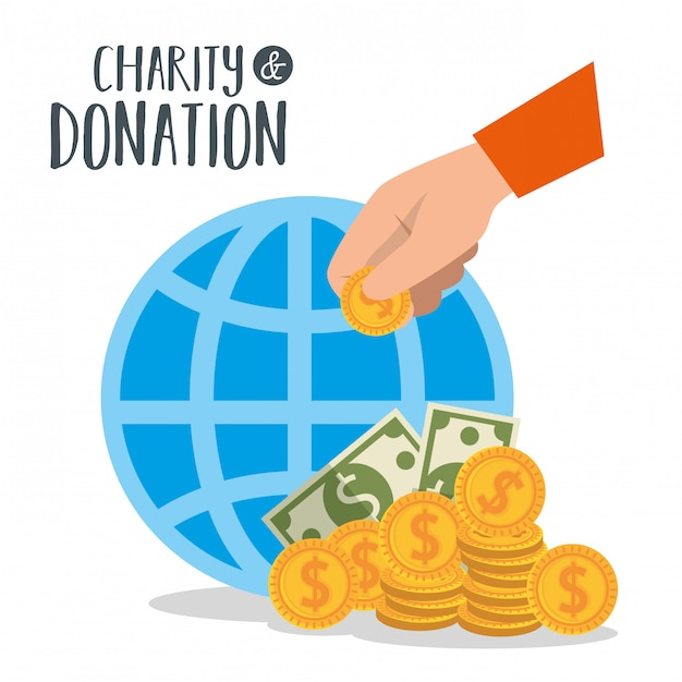 Liefdadigheidsschenking met bol en munten Gratis Vector