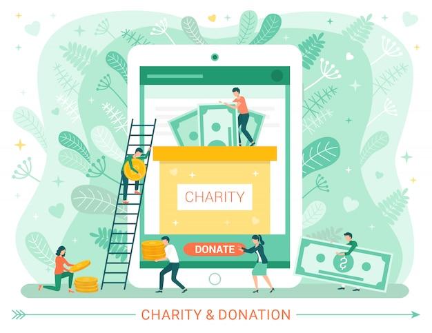 Liefdadigheidsschenking web poster, mensen doneren geld Premium Vector
