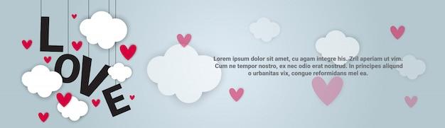Liefde backgorund valentijnsdag horizontale banner met kopie ruimte Premium Vector