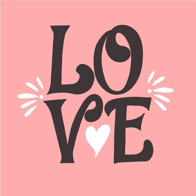 Liefde belettering en een schattige vorm van hart Gratis Vector