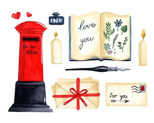 Liefde brief aquarel elementen instellen valentijnsdag kaart Premium Vector