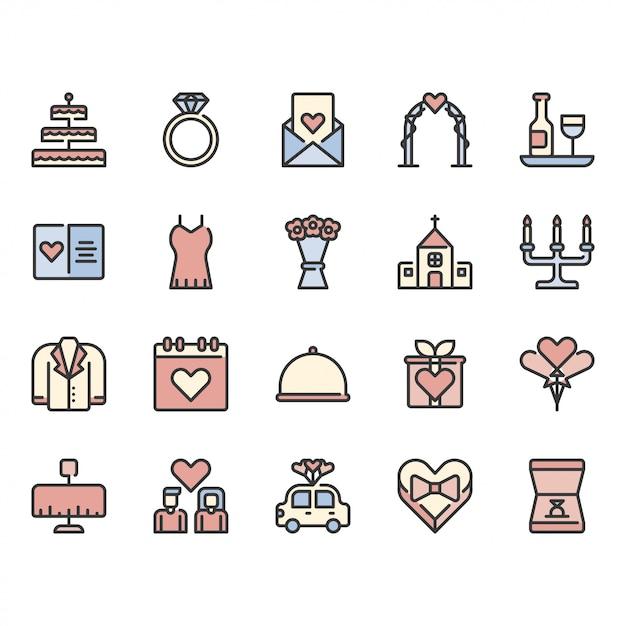 Liefde en bruiloft gerelateerde icon set Premium Vector