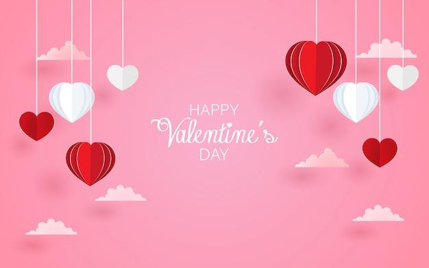 Liefde en romantische achtergrond met hartvorm. papieren kunst Premium Vector