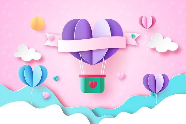 Liefde en valentijn dag wenskaart papier kunststijl Premium Vector