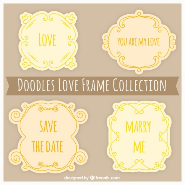 Liefde frames Gratis Vector