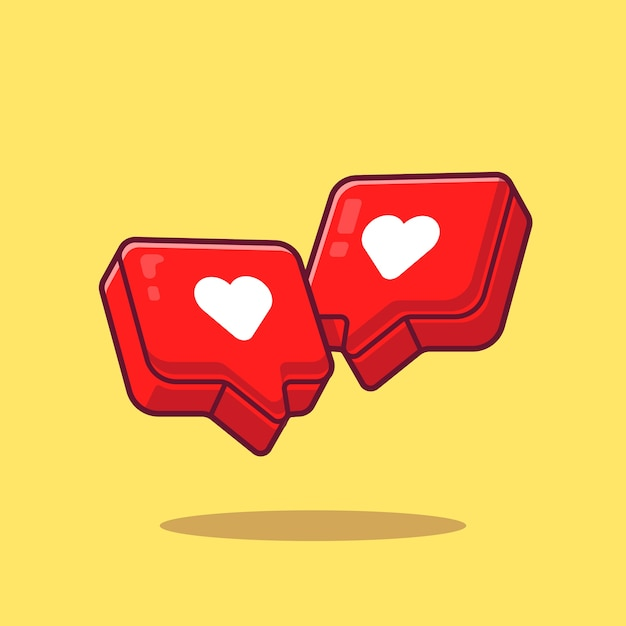 Liefde hart cartoon pictogram illustratie. symbool object pictogram concept geïsoleerd. platte cartoon stijl Gratis Vector