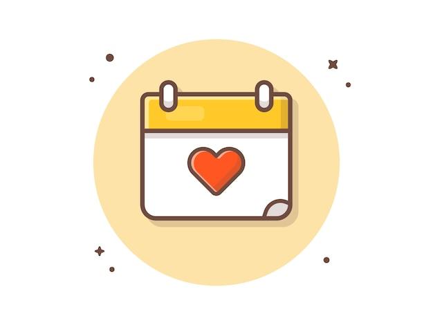 Liefde kalender vector icon illustratie. liefde pictogram concept Premium Vector