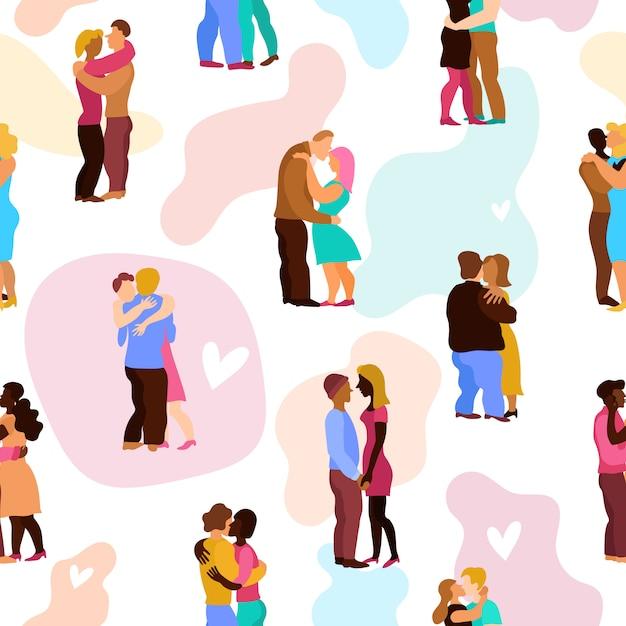 Liefde knuffels naadloze patroon Gratis Vector