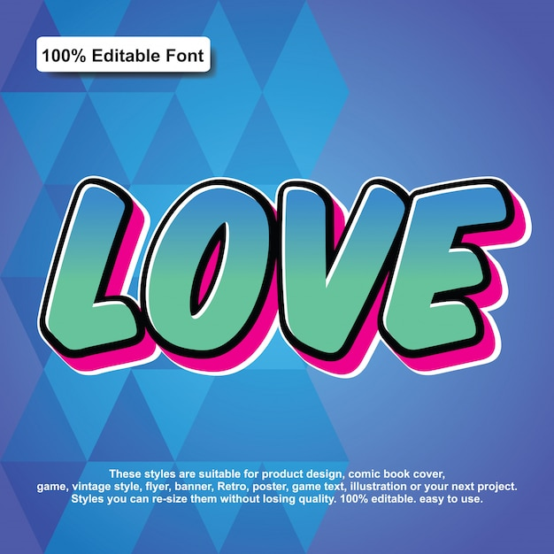 Liefde sticker tekst effect Premium Vector