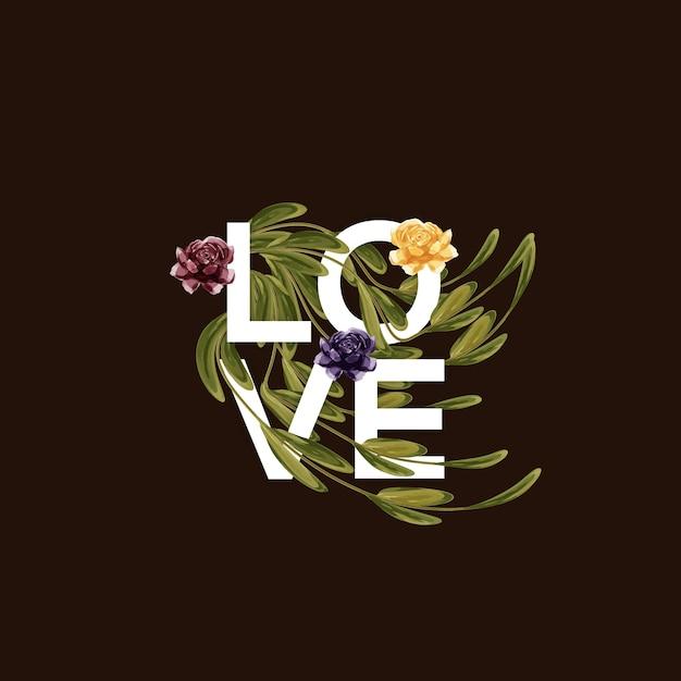 Liefde typografie met bloemen en bladeren Premium Vector