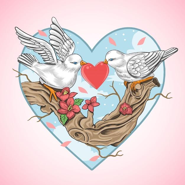 Liefde van romantische vogel Premium Vector