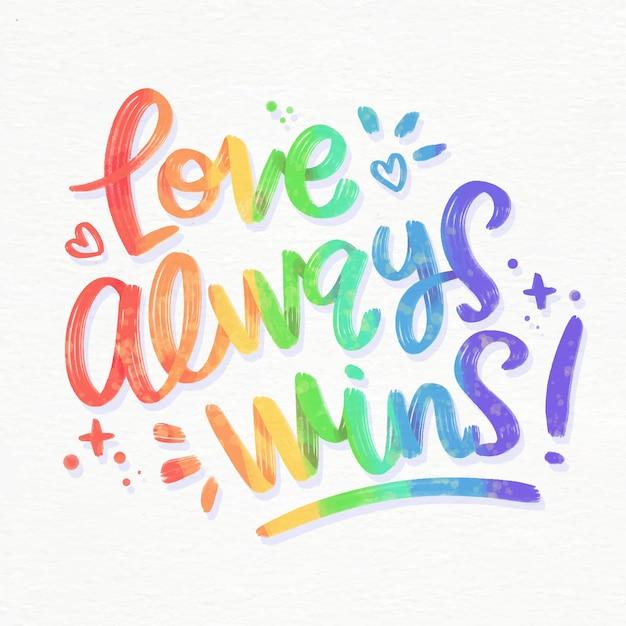Liefde wint altijd belettering Gratis Vector