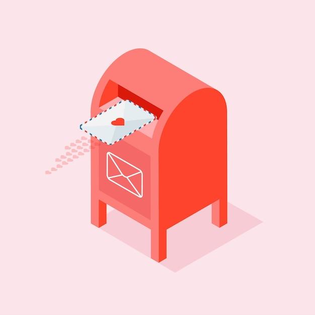 Liefdesbrief aan soulmate of partner. rode brievenbus met envelop Premium Vector