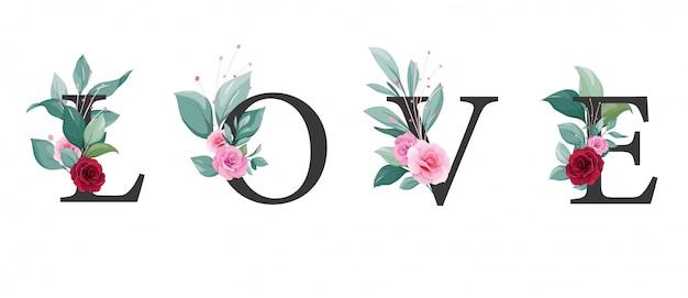 Liefdesbrief met bloemen. elegante bloemendecoratie van rozen en bladeren voor bruiloft uitnodigingskaart, valentijnskaart, evenement, poster of dekking Premium Vector