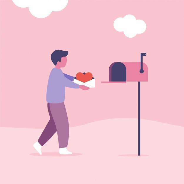Liefdesbrieven concept voor valentijnsdag. de mens verzendt of krijgt post met brievenbus Premium Vector