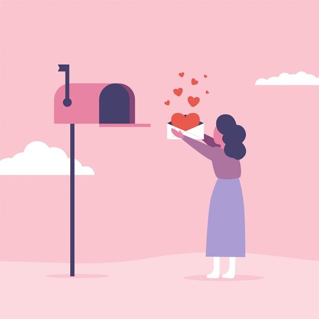Liefdesbrieven concept voor valentijnsdag. de vrouw verzendt of krijgt post met brievenbus Premium Vector