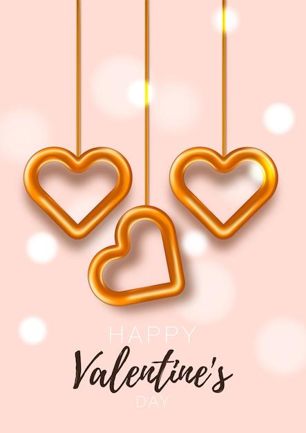 Liefdesbrochure. cadeau poster kaart. sjabloon voor spandoek verkoop voor valentijnsdag. banner met harten en geschenken. Premium Vector