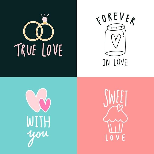 Liefdesuitdrukkingen pictogramserie Gratis Vector