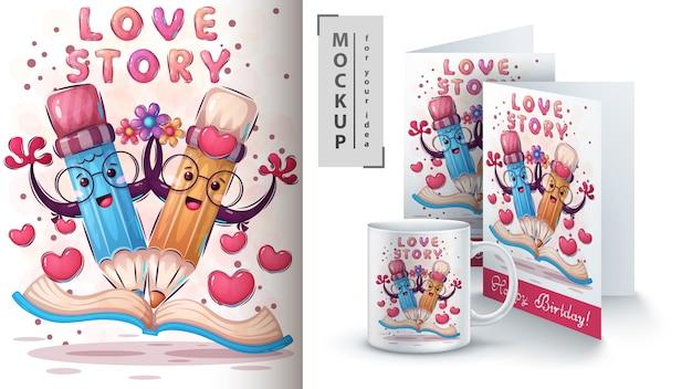 Liefdesverhaal poster en merchandising Gratis Vector