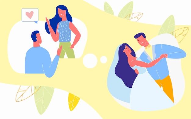 Liefdevolle relaties van eerste ontmoeting tot huwelijk, Premium Vector