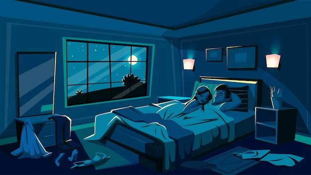 Liefhebbers slapen in bed illustratie van slaapkamer in de nacht met verspreide kleed kleren Gratis Vector