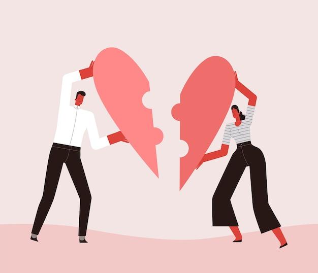 Liefhebbers van man en vrouw stapelen hun hart op als een puzzel. geïsoleerd op witte achtergrond. Premium Vector