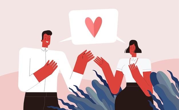 Liefhebbers van man en vrouw verklaren de liefde en praten. geïsoleerd op witte achtergrond. Premium Vector