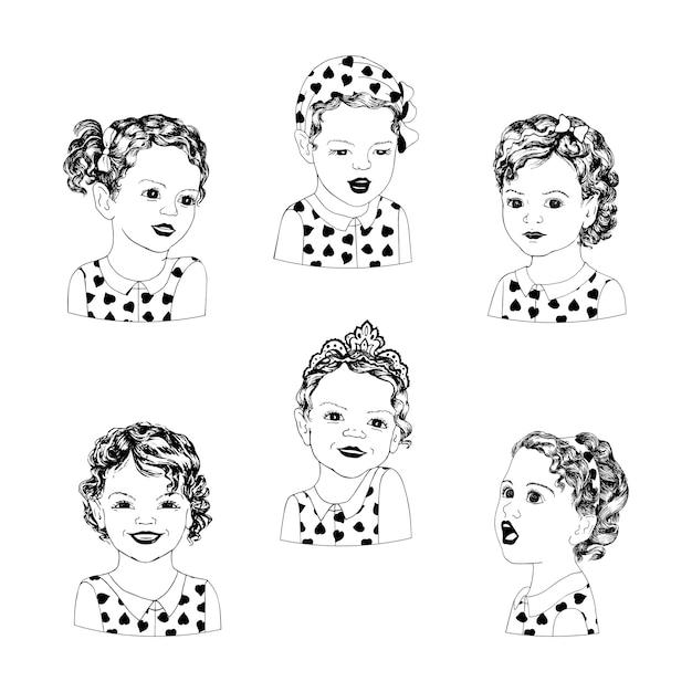 Lieve kleine meisjes met verschillende emoties in een pop-artstijl. hand tekenen set van zes meisjes in verschillende poses en emoties. retro amerikaanse pop-artkinderen. Premium Vector