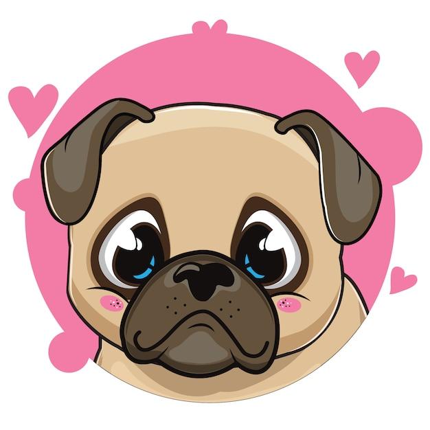 Lieve pug avatar Premium Vector