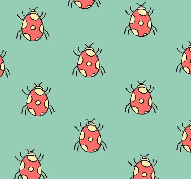 Lieveheersbeestje doodle naadloze patroon Premium Vector