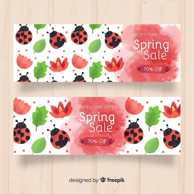 Lieveheersbeestje lente verkoop banner Gratis Vector
