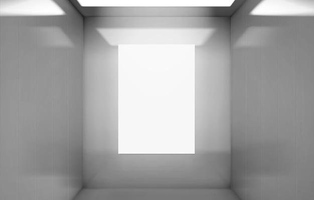 Lift cabine met poster mockup binnenaanzicht. Gratis Vector