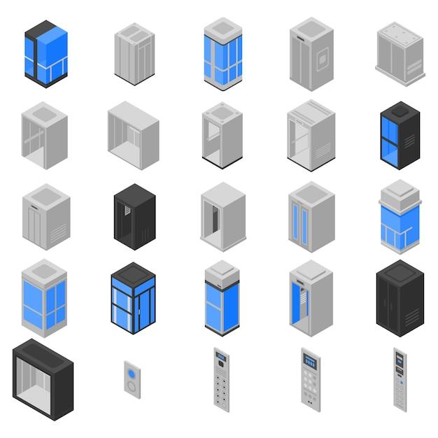 Lift iconen set, isometrische stijl Premium Vector