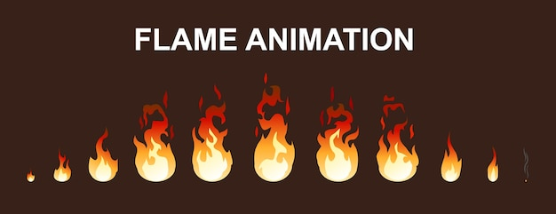 Light fire flames animation collection Gratis Vector