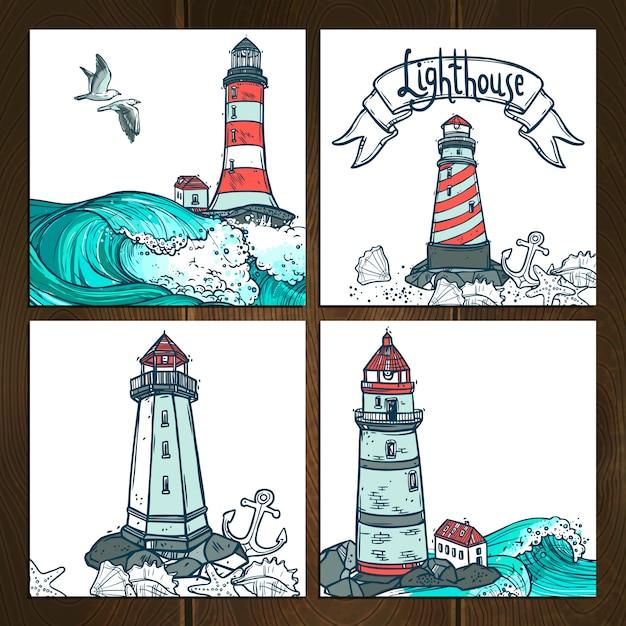 Lighthouse cards set Premium Vector