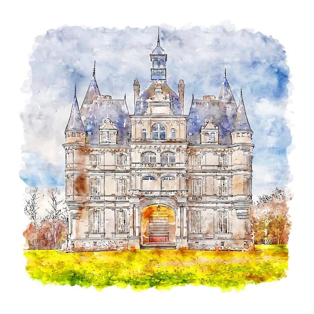 Ligny le ribault centre france aquarel schets hand getrokken illustratie Premium Vector