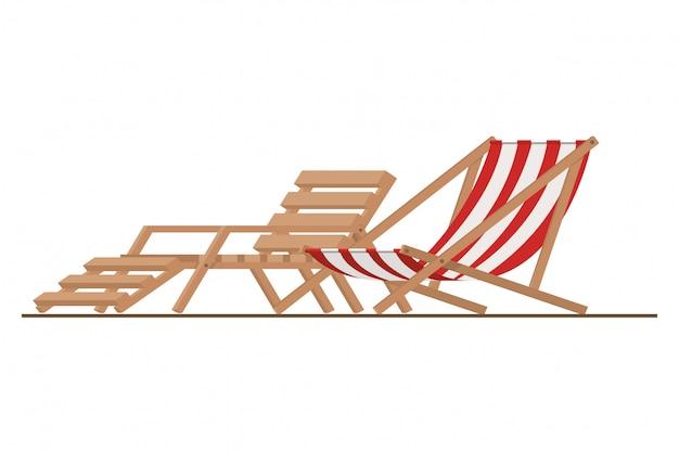Ligstoel om te zonnebaden op wit Gratis Vector