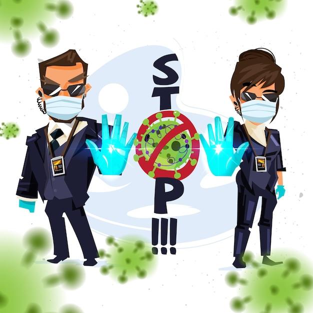 Lijfwachtman en -vrouw die stophandteken tonen om te waarschuwen over stopvirus Premium Vector