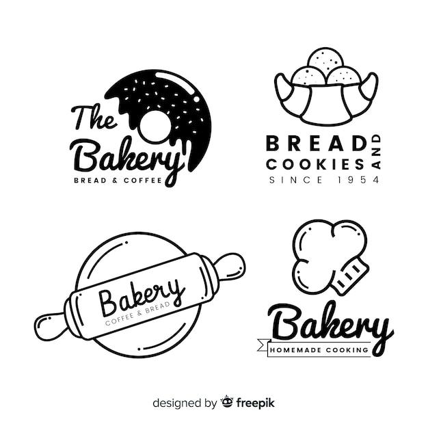 Lijn bakkerij logo's Premium Vector