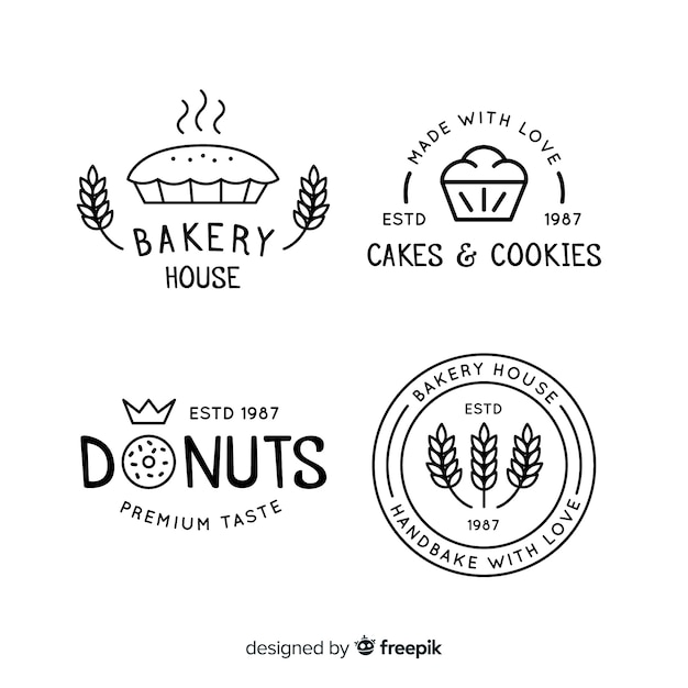 Lijn bakkerij logo's Gratis Vector