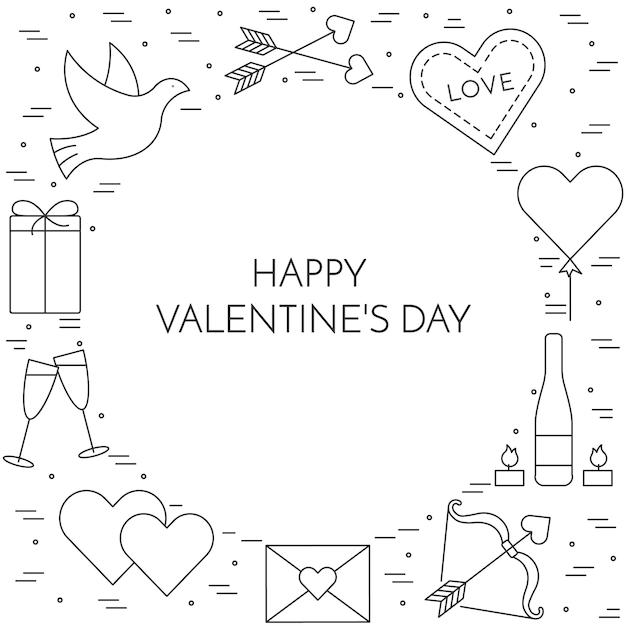 Lijn dunne pictogrammen banner voor valentijnsdag en datum thema. Premium Vector