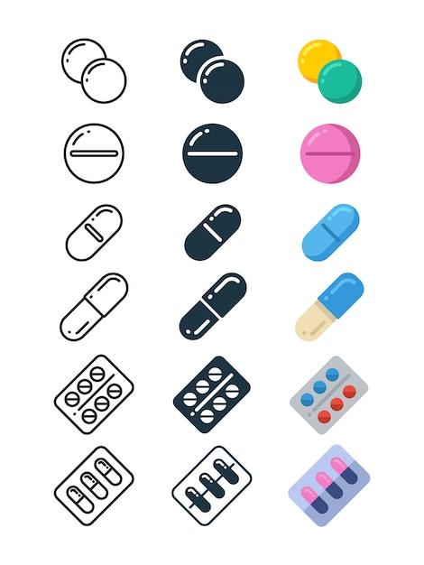 Lijn- en silhouetpictogrammen van illegale drugstabletten Premium Vector