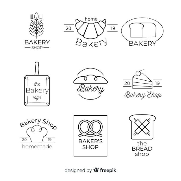 Lijn kunst bakkerij logo sjabloon Gratis Vector