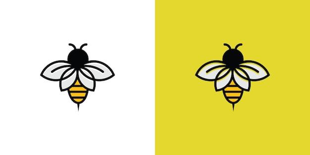 Lijn kunst bee isotype logo Premium Vector