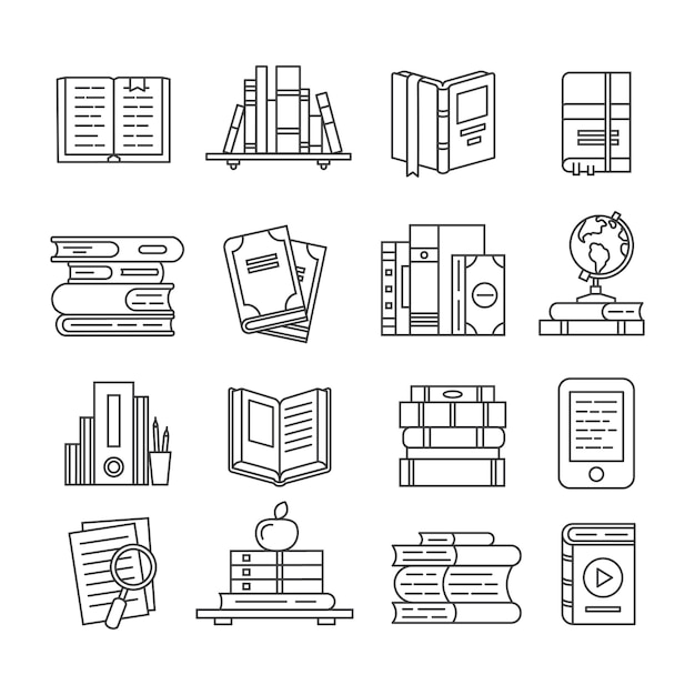 Lijn kunst boek pictogramserie Premium Vector