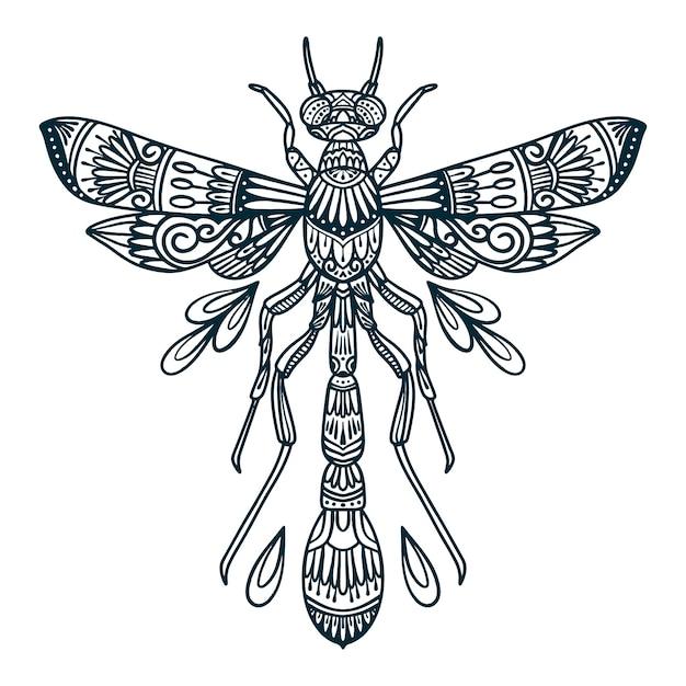 Lijn kunst illustratie van dragonfly beetle Premium Vector