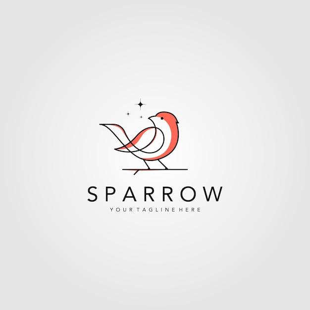 Lijn kunst mus vogel logo vector illustratie ontwerp, minimalistische vogel pictogram symbool Premium Vector