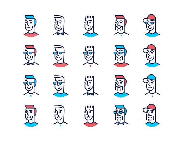 Lijn kunst ontwerp mannen pictogramserie Premium Vector